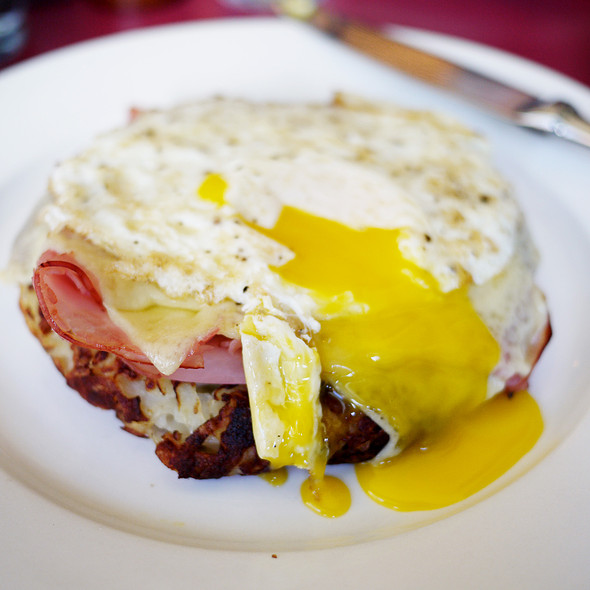 Rosti w/ Blackforest Ham, Gruyere and Fried Egg - Cervantes' Oyster Shack, New York, NY