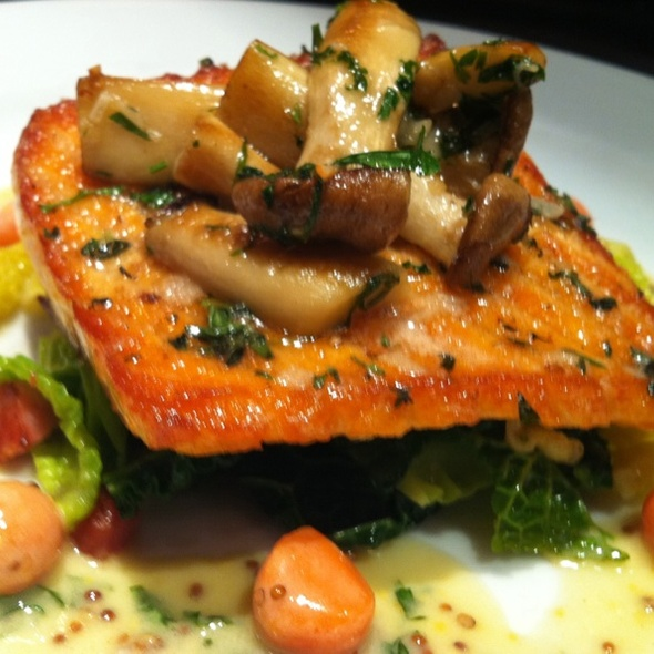 Pan roasted salmon with savoy cabbage, trumpet mushrooms, spaetzle and mustard beurre blanc - Bistro Bis, Washington, DC
