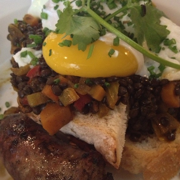 Poached Eggs With Puy Lentils, Lamb Sausage And Grilled Bread - Edward's 1290, Toronto, ON