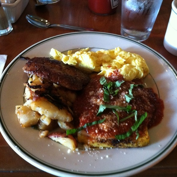 Grilled Polenta Topped W/ Cheese And Marinara W/ Eggs & Italian Sausage - Rocco's Cafe, San Francisco, CA