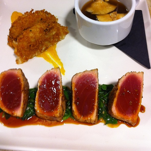 Seared Ahi, Risotto Cake, Ginger Miso Broth - Hodge's, Cleveland, OH