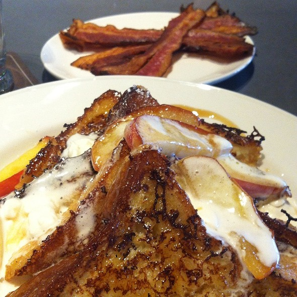 French Toast With Fresh Apples And A Side Of Bacon - Imperial, Portland, OR