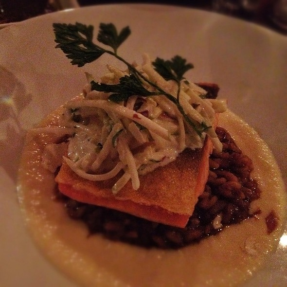 Pan Seared Arctic Char Fillet With Smoked Pig Skin Risotto, Parsnip Puree And Apple-Celery Root Salad - EVOO, Cambridge, MA