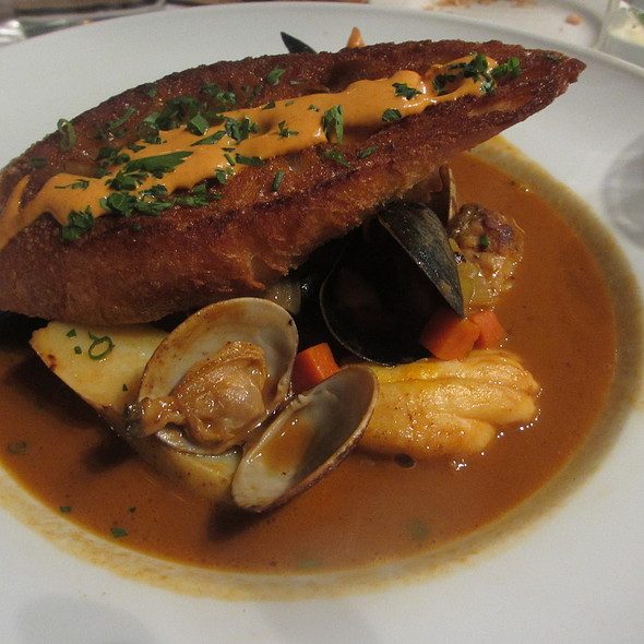 Bouillabaisse Provençale Soup with Mussels, Clams, Skatewing and Aioli Toast - Bistro Bordeaux, Evanston, IL