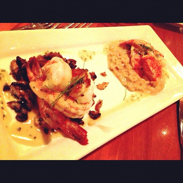 Jumbo Gulf Shrimp On Mushroom Duxelle And Half Deshelled Lobster In Truffle Risotto - Rick Moonen's RM Seafood, Las Vegas, NV