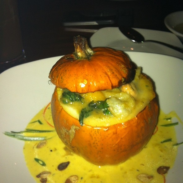 Stuffed Pumpkin With Bay Scallops, Spinach, Cranberries, And Focaccia Croutons Seved With Saffon Cream - Iron Works Tavern, Warwick, RI