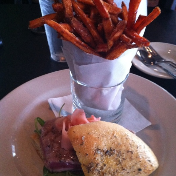 Ahi Tuna On Focaccia With Sweet Potato Fries - Lucky's Restaurant, Tulsa, OK
