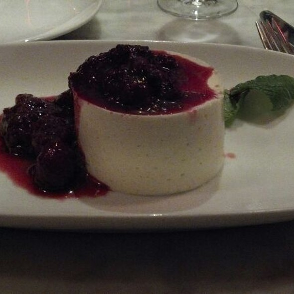 Vanilla Bean Pana Cotta With Raspberry Coulis - Novo Pizzeria & Wine Bar, Vancouver