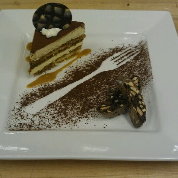 Tiramisu With Caramel Espresso Sauce And Chocolate Biscotti - Waterleaf Restaurant - Glen Ellyn, Glen Ellyn, IL