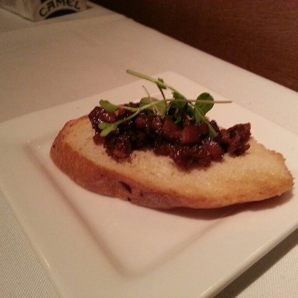 Amuse Bouche, Liver And Onions On Homemade Bread. Beaujolais Nouveau Special Menu - Liberty Street Grill, Savannah, GA