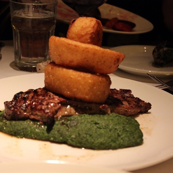 Grilled Ribeye With Crisp Vidalia Onion Rings - Scala's Bistro, San Francisco, CA