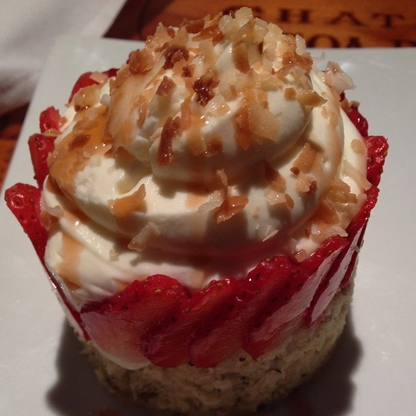 White Chocolate Coconut Mousse With Strawberries - Dusty's Wine Bar, Okemos, MI