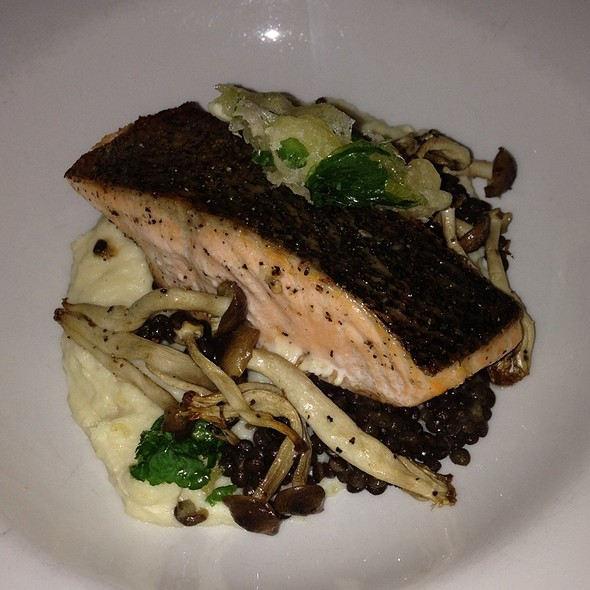 Miso Salmon With Parsnip Mash, Lentils And Mushrooms - Ten Restaurant & Wine Bar, Mississauga, ON