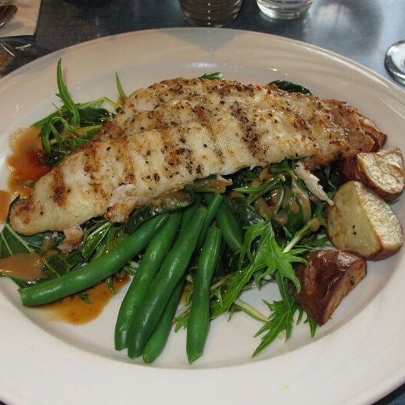 Catfish with Tatsoi & Mizuna and Mixed Greens - Riverwalk Restaurant, Yorktown, VA