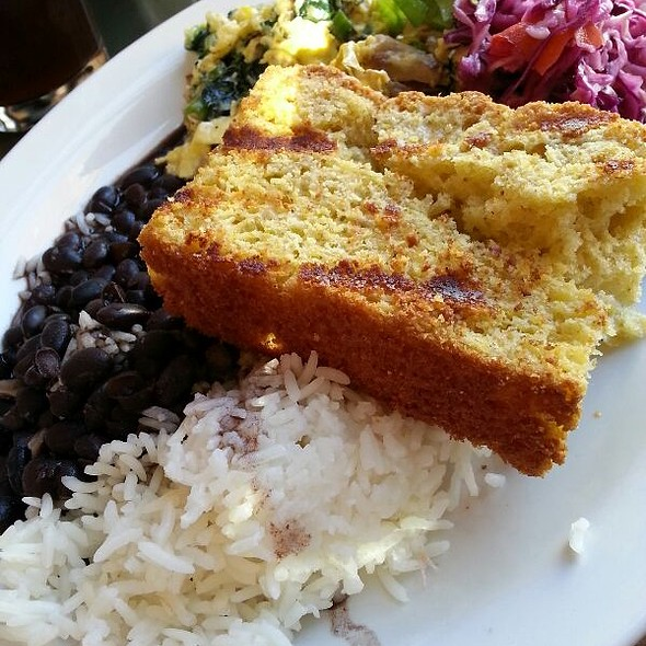 Farmer's Egg With Black Beans, Rice, And Grilled Cornbread - Sonny's, Portland, ME