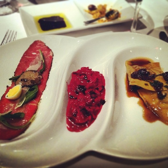 Carpaccio, Red Beet Risotto & Wild Boar Agnolotti - Mistura, Toronto, ON