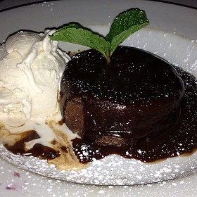 Hot Chocolate Godiva Cake With Vanilla Bean Ice Cream - Eddie V's - Dallas, Dallas, TX