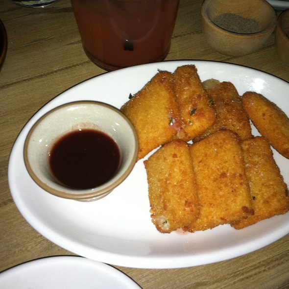 Crispy Fried Manchego Cheese with Spicy Pomegranate Honey Sauce - Tico, Boston, MA