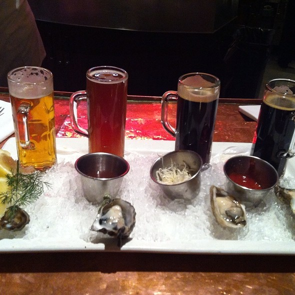 Beer And Oyster Flight - The Brooklyn Seafood, Steak & Oyster House, Seattle, WA