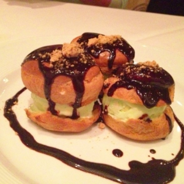 Pistachio Ice Cream (Profiteroles with Warm Chocolate Sauce) - Etoile Cuisine Et Bar, Houston, TX