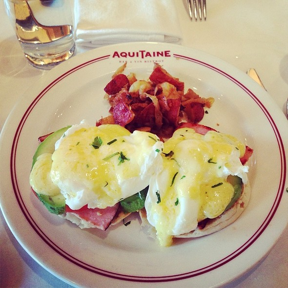 Eggs Benedict With French Ham, Avocado And Marinated Tomato - Aquitaine Bis, Chestnut Hill, MA