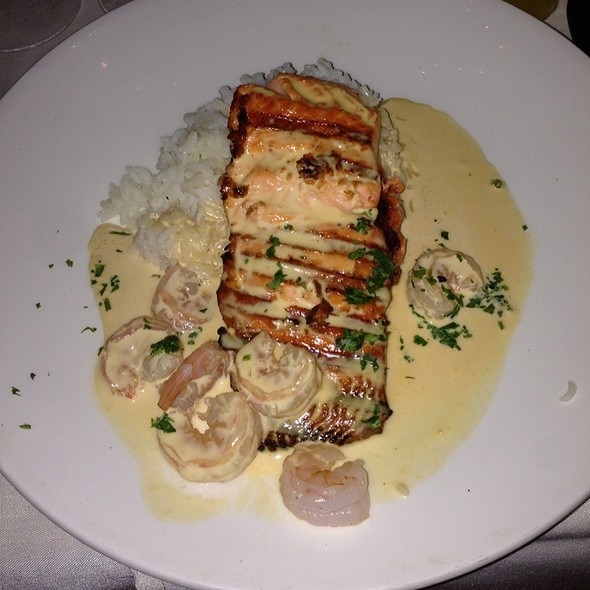 Salmon With Shrimp & Lobster Sauce - Rusty Pelican Restaurant, Newport Beach, CA
