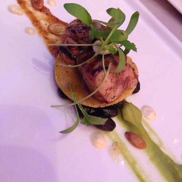 Foie Gras On Corn Chrisp Over Black Beans With Red Pepper Coulis And Advocado Puree - Iridescence, Detroit, MI