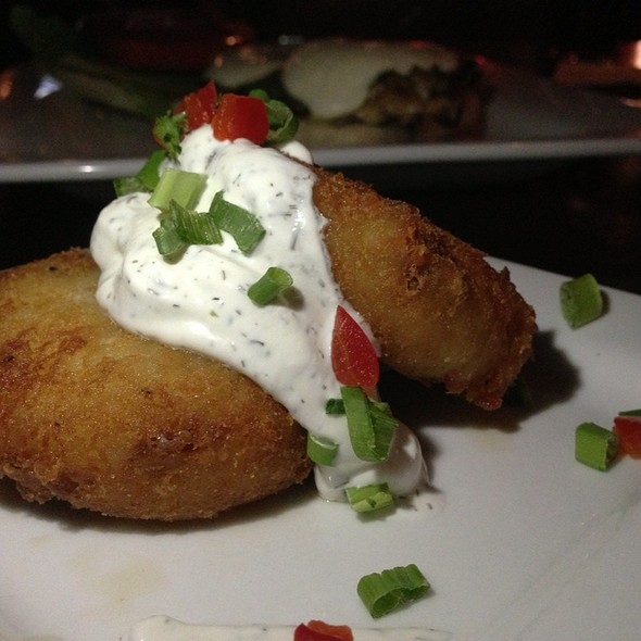 Bubbies Potato Cakes ~ Cheddar, Smoked Bacon, Lemon Dill Sour Cream - Kenny's Wood Fired Grill, Dallas, TX