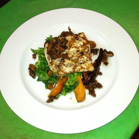 Oak Grilled Mahi Mahi, Agrodulce Sweet Potatoes, Wilted Chicory, Calimyrna Fig Vinaigrette, Citrus Pressed Evoo - Max a Mia, Avon, CT