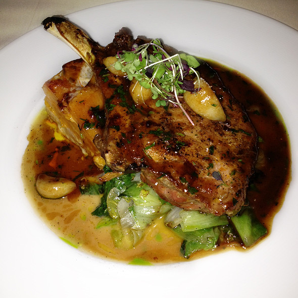 Berkshire Pork Chop with Escarole & Sweet Potato Gratin - Triomphe, New York, NY