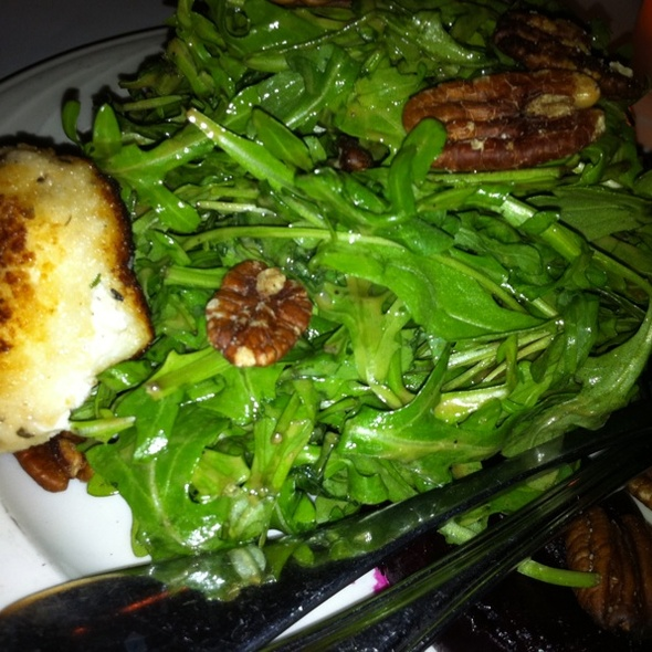 Arugala Salad With Guava Vinagrette, Candied Pecans, And Pan-fried Crusted Goat Cheese - Taranta, Boston, MA