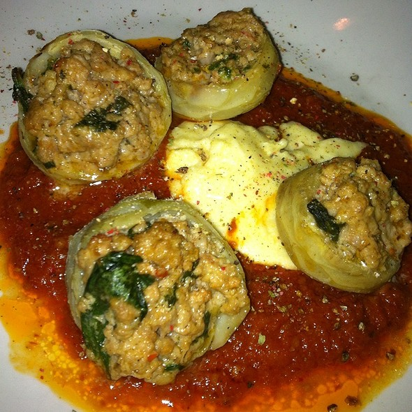 Stuffed Artichoke Bottoms - Eleven Eleven Mississippi, St. Louis, MO