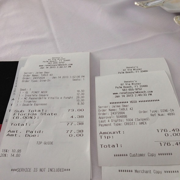 Wrong Check On The Right.  Watch Out - Renato's, Palm Beach, FL