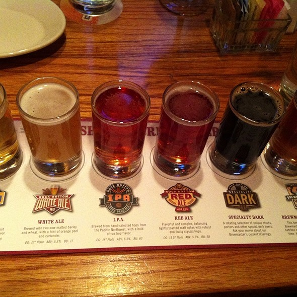 Six Beer Sampler - Rock Bottom Brewery Restaurant - La Jolla, San Diego, CA