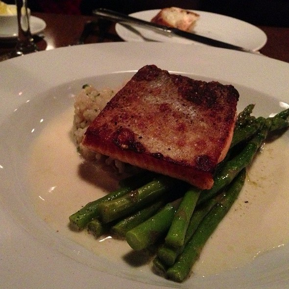Salmon With Mushroom Risotto And Asparagus - A la bonne franquette, Seattle, WA
