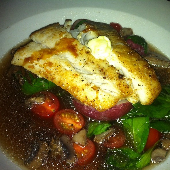 Halibut With Lemon Butter, Mushrooms, Spinach, Grape Tomatoes And Mini Potatoes - Borealis Grille & Bar - Kitchener, Kitchener, ON