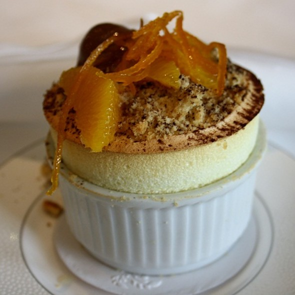 Spiced orange soufflé with sablé crumb and bitter chocolate sorbet  - Roux at The Landau, London