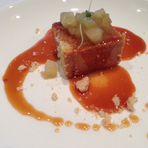 Almond Cake Niagara Apple Compote & Salted Caramel Sauce - Canoe Restaurant and Bar, Toronto, ON