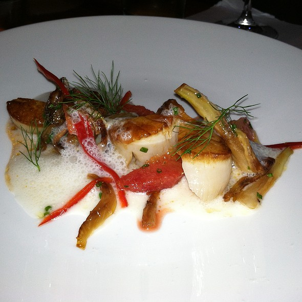 Seared Scallops, almond, blood orange, fennel, chili - Little Fish, Philadelphia, PA