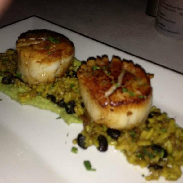 Seared Diver Scallops On Dirty Rice With Avocado Glaze - The York, Syracuse, NY
