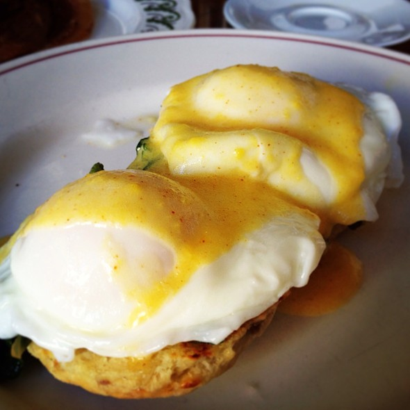 Poached Eggs On Fontina Sausage Biscuit - The Little Owl, New York, NY
