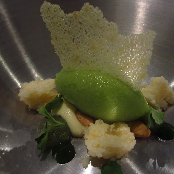 Gremolata - basil sorbet, ricotta cheesecake, meyer lemon gelee - Moto Restaurant, Chicago, IL