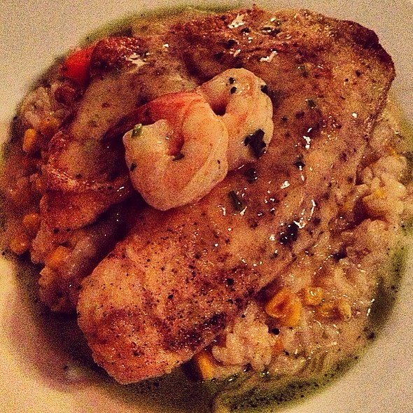 Tilapia & Shrimp W/ Corn Risotto & Carrots - Epicurean Cafe, Duluth, GA