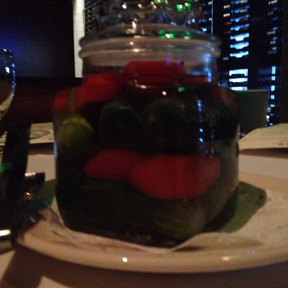 Half Sour Pickles And Sweet Red Bell Peppers In A Salt Water Brine - Bob's Steak & Chop House - Dallas on Lamar, Dallas, TX