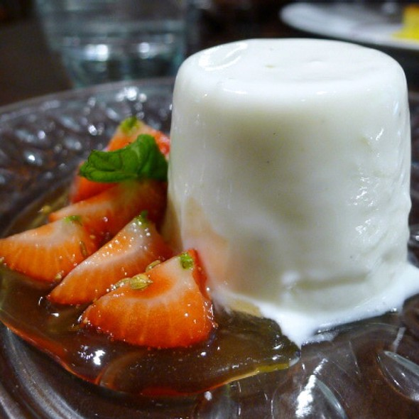 Lassi Panna Cotta With Tamarind Glazed Strawberries - Cinnamon Soho, London