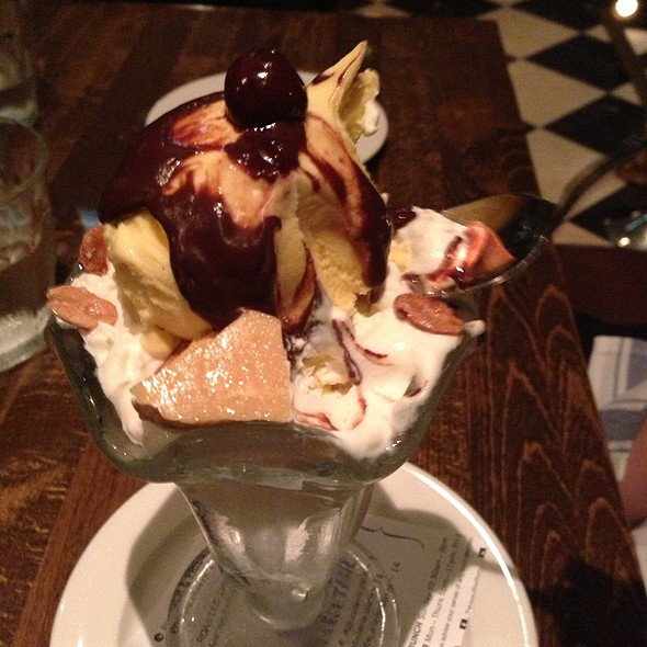 Roasted Banana Ice Cream Sundae With Honeycomb And Roasted Peanuts - Tableau Bar Bistro, Vancouver, BC