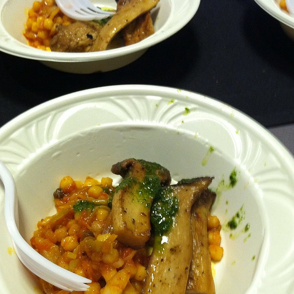Roasted king oyster mushroom with pesto, tomato braised Israeli couscous - Vedge, Philadelphia, PA