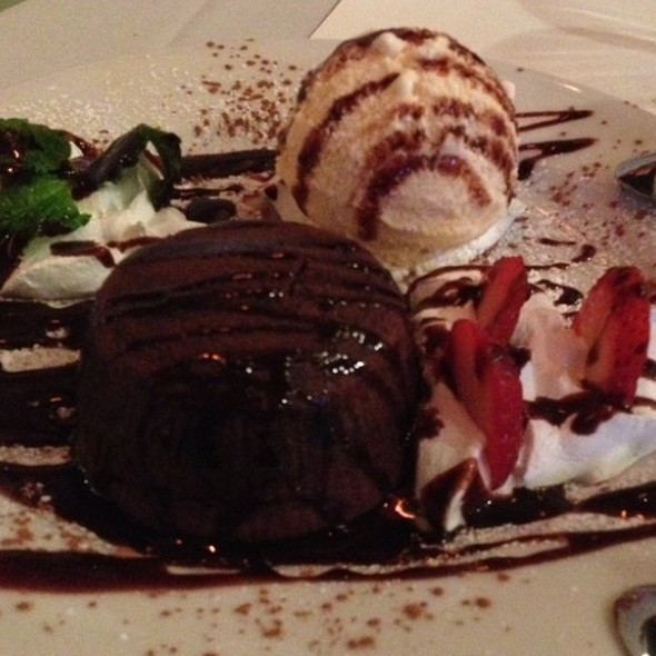 molten chocolate cake with vanilla rum ice cream - Gaucho Grill - Long Beach, Long Beach, CA