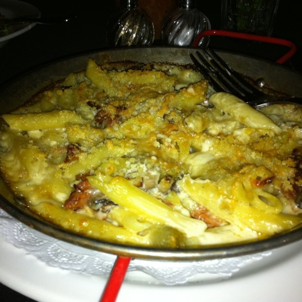 Mac and Cheese with Bacon, Mushrooms, and Ham - The Living Room, Boston, MA