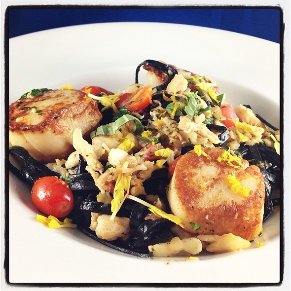 Squid Ink Linguini With Seared Scallops - Pelagia Trattoria, Tampa, FL